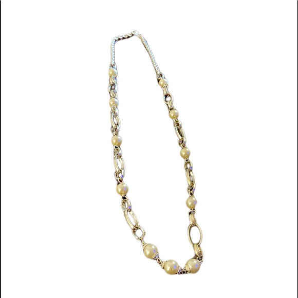 Faux Pearl Long Silver Necklace